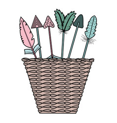 Basket with bohemian arrows and feathers vector