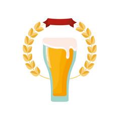 beer glass drink foam emblem vector image