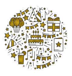 Birthday party concept theme in gold circle with vector