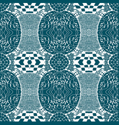 Blue tiles with seamless pattern vector