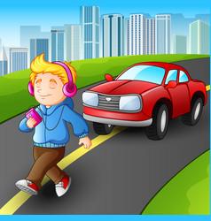 boy walking listening music vector image