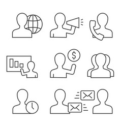 business people acting avatar linear icons on vector image