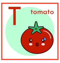 Cartoon alphabet flashcard t is for tomato flat vector