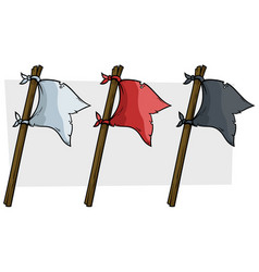 Cartoon colored pirate flags on wooden stick vector