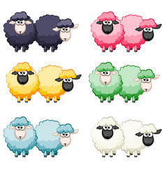 cartoon cute funny colored sheep vector image