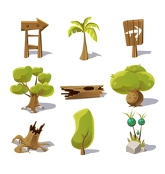 Cartoon nature elements objects on white vector