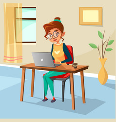 cartoon woman freelancer student laptop vector image
