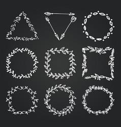 chalkboard doodle branches frames set wreath vector image