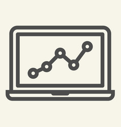 chart on laptop line icon graph on notebook vector image