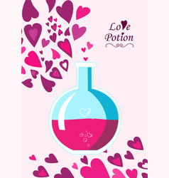 Chemistry flask containing love potion in flat sty vector