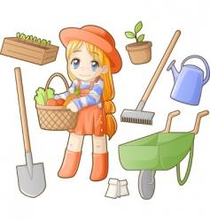 Chibi professions sets gardener vector
