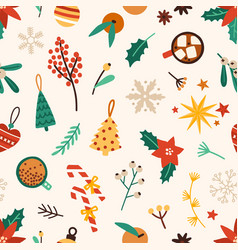 Christmas accessories flat seamless pattern vector