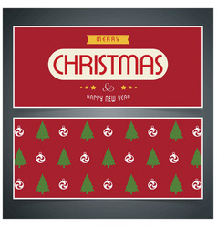 christmas card with red patten background vector image