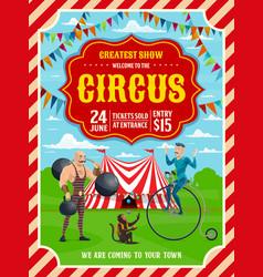 Circus or carnival top tent acrobat strongman vector