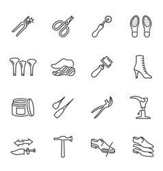 Collection monochrome shoe repair equipment linear vector