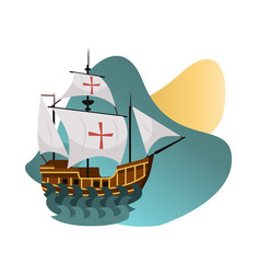 Columbus day poster with caravel santa maria vector