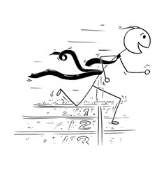 conceptual cartoon of businessman running at the vector image