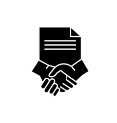 conclusion of a contract black icon sign vector image