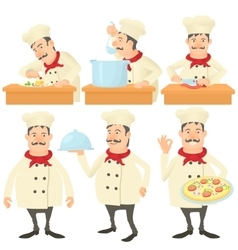 Cook kitchener concept set cartoon style vector