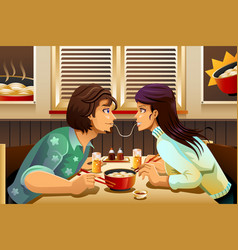 Couple eating noodle vector