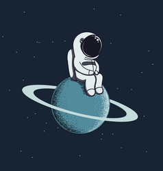 cute baby-astronaut sits on neptune vector image