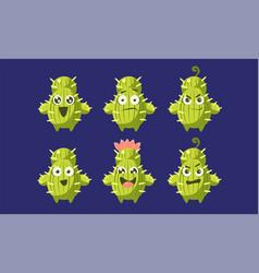 cute cactus characters set funny emojis vector image