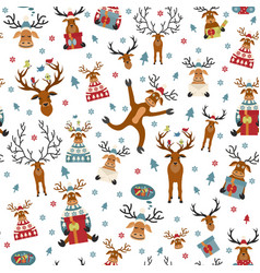 Cute reindeer flat seamless pattern elements for vector
