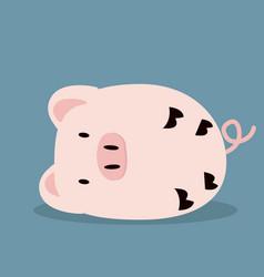 cute sleeping pink pig vector image