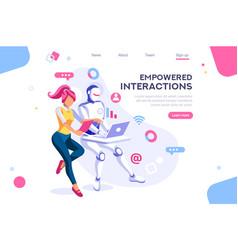cyborg interaction concept vector image