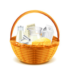 Dairy products in wicker basket isolated on white vector