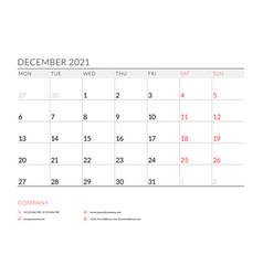 December 2021 monthly calendar planner printable vector