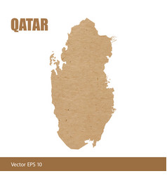 detailed map of qatar cut out of craft paper vector image