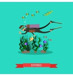 Diver swimming underwater vector