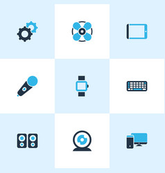 electronics icons colored set with fan mic vector image