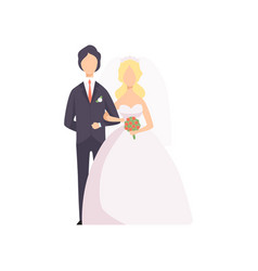 elegant couple of newlyweds at wedding ceremony vector image