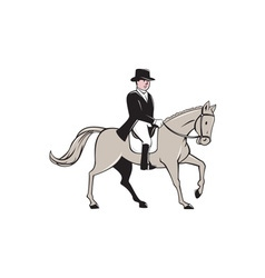 Equestrian Rider Dressage Cartoon vector image