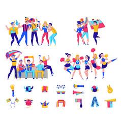 fans cheering team icon set vector image