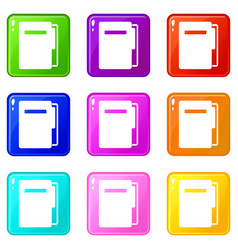 File folder icons 9 set vector