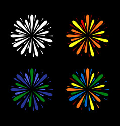 fireworks set color on black background vector image