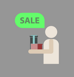 Flat icon of human stick figure gifts discounts vector
