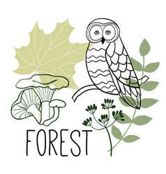 Forest objects seasonal print vector