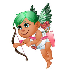 Girl cupid in toga with green wings and hair vector