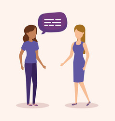 girls with speech bubbles vector image