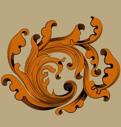 Gold leaf pattern scene vector