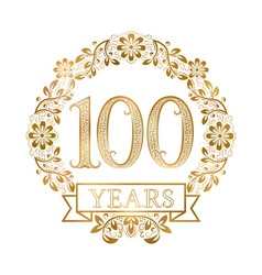 Golden emblem of hundredth years anniversary in vector image