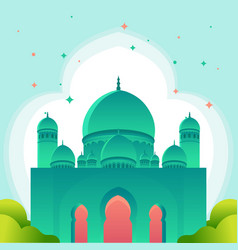 Gradient islamic banner with mosque design free vector