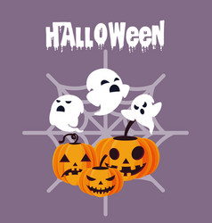 halloween card with ghost and pumpkin characters vector image