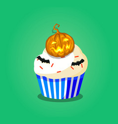 halloween cupcake with pumpkin jack and bats vector image