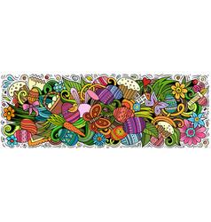 happy easter hand drawn cartoon doodles vector image