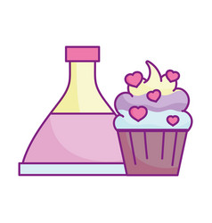 happy valentines day potion bottle cupcake with vector image